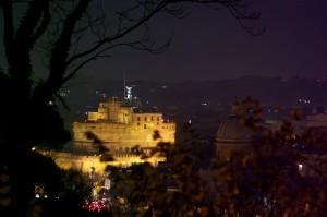 Castel Sant'angelo dal Gianicolo di notte
