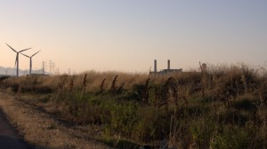 La zona industriale di Assemini al TRamonto