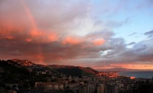 Salerno: tramonto con arcobaleno