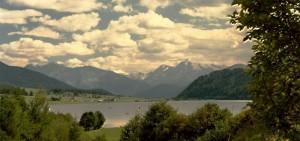 il lago di S.Valentino con l'Ortles nello sfondo