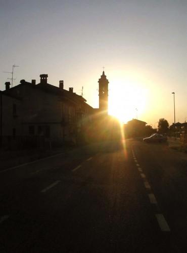 Travacò Siccomario - arrivando in paese : tramonto