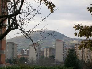 Un piccolo paesino tra i rami sulla collina