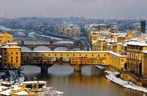 Panorama dei ponti di Firenze dopo la nevicata del 2005