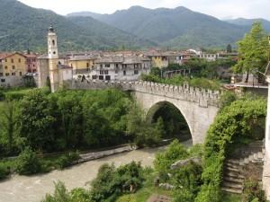 Dronero e il ponte del diavolo, anno 1428, vista lato nord