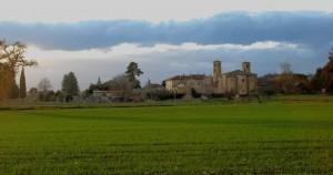 Corridonia- panorama dell' abitato e abbazia di San Claudio