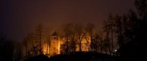 Il castello di Brunico di notte
