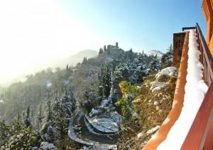 Panorama della Chiesa del Monticino innevata