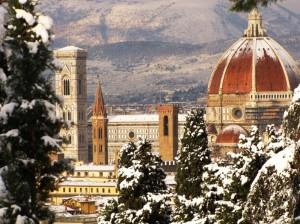 Fra gli alberi monumenti di Firenze innevati