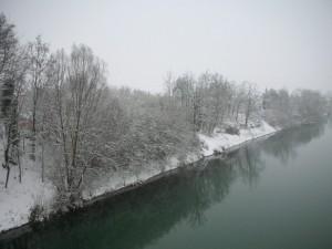 Rive del fiume Brenta sotto la neve - I