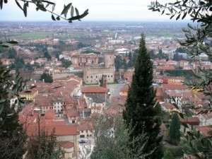Marostica - Panorama sulla città tra gli ulivi