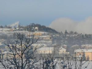 Saluzzo, il Monviso e la neve