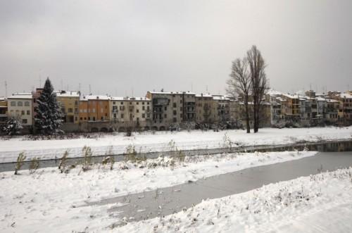 Parma - Le case lungo il Torrente dopo la nevicata!