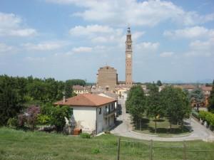 Castelbaldo dall' argine sx del fiume Adige
