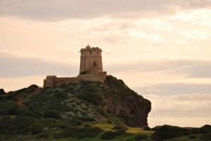 Torre di S'Efisio nella baia di Nora