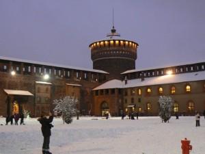 Castello Sforzesco innevato