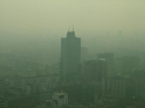 Milano - Dall'Altra Sede della regione, veduta nello smog verso Piazza della Repubblica
