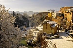 Vista con Neve dal Ponte di Urbania