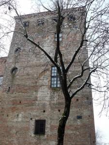 La torre tra ricami di neve