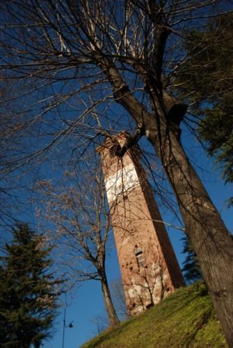 Romano Canavese - torre comunale XIV secolo tra gli alberi