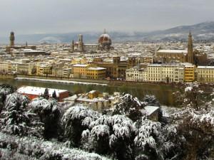 Sotto la neve S.Croce, Duomo e Palazzo vecchio
