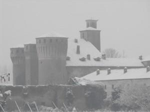 Neve sul castello di Valeggio