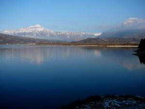una mattina d'inverno al lago di Santa Croce