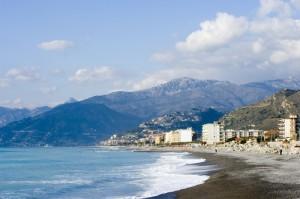 La spiaggia di Bordighera.