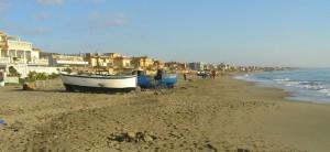 la spiaggia di Torvaianica d'inverno