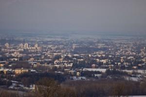 Panorama su la foschia di Reggio