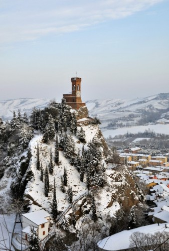 Brisighella - La torre, la neve.