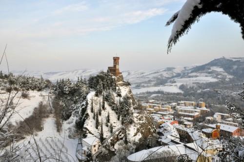 Brisighella - La torre dell'orologio con la neve - Brisighella
