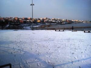 Una meravigliosa pista di ghiaccio sul mare