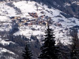 Le case di Bolentina innevate