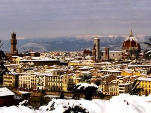 dopo la nevicata Palazzo Vecchio e Duomo