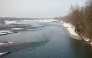 Il torrente Scrivia dal ponte di Villalvernia