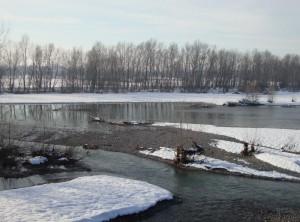 Il torrente Scrivia dal ponte di Villalvernia verso Pozzolo Formigaro