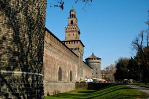 Castello Sforzesco, facciata anteriore e torre del Filarete