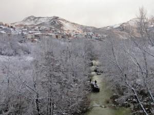 Quadri sotto la neve,vista dal Fiume Sangro