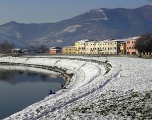 Neve sul  Lungarno di Calcinaia