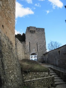 Torre quadrangolare ed ingresso con stemma.