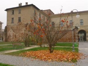 Castello d'autunno, con le foglie gialle