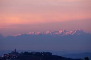 Diano e tramonto sul Monte Rosa