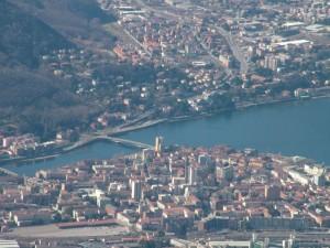 Centro di Lecco e Ponte Kennedy dal Pizzo d'Erna