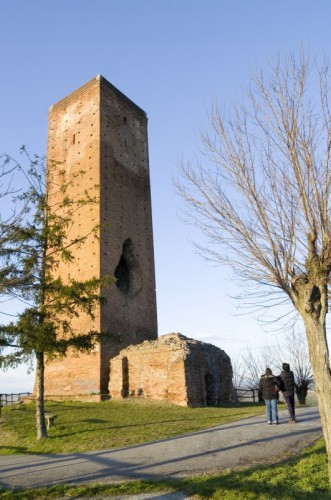 San Salvatore Monferrato - La torre, al tramonto.