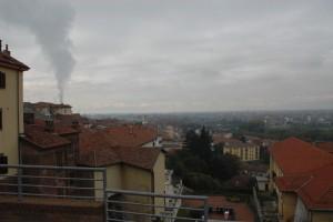 Moncalieri ovest con pennacchio di fumo della centrale elettrica