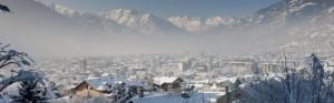 Aosta sotto la neve, panoramica