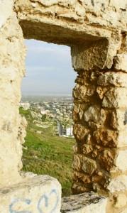 Vista su Manfria da una finestra del secondo piano