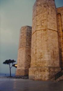Castel del Monte : Due Torrioni esagonali sotto la Pioggia