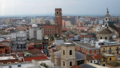 Foggia - Panorama con il Municipio e la Cattedrale