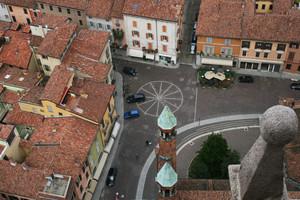 La piazza di Cremona dall'alto.